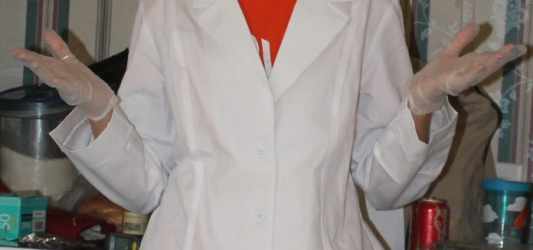 Me in my lab coat and science stuff