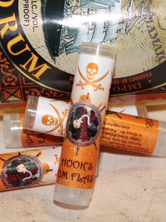 Hook's rum flask lip balm