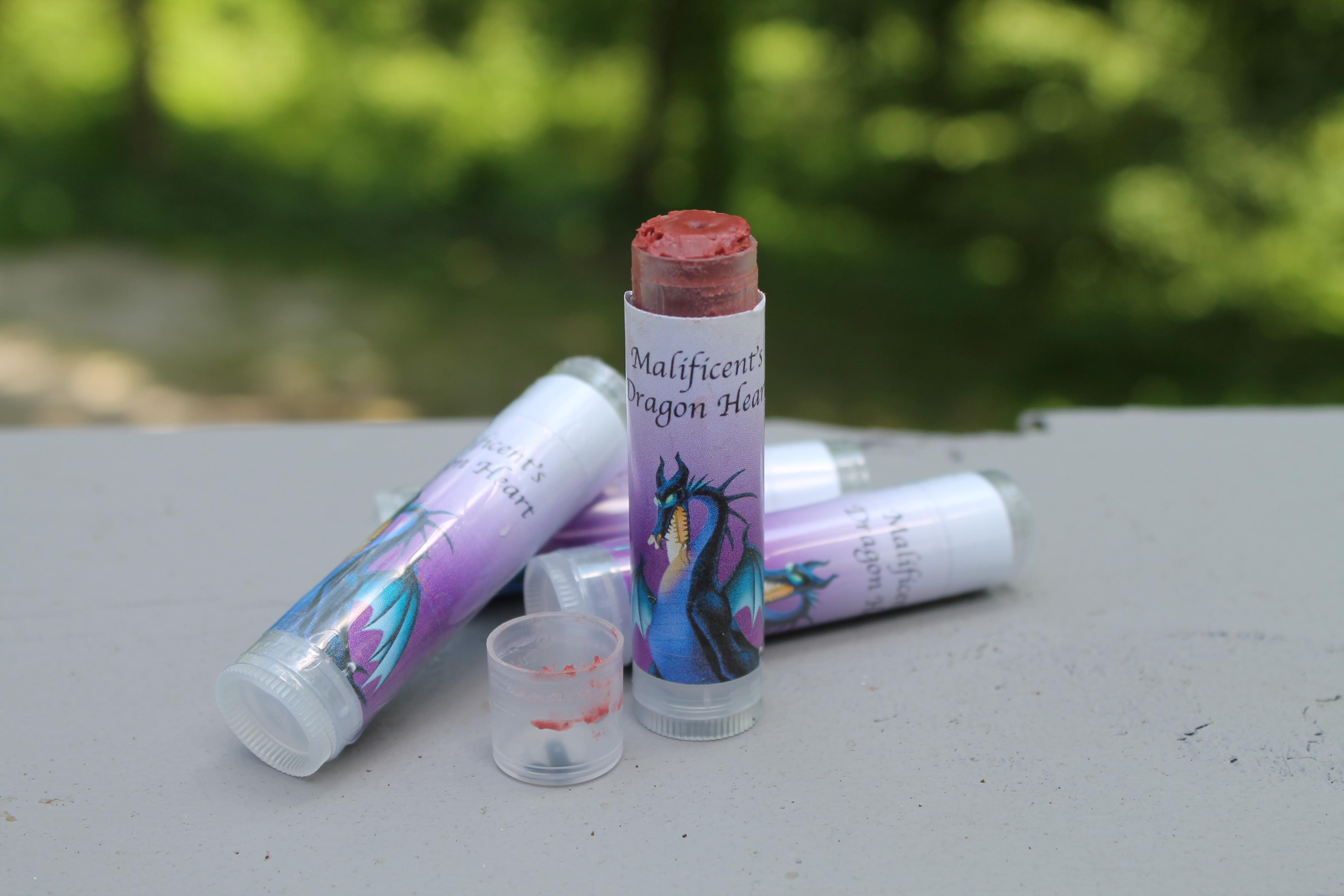 Maleficent's lip balm in Black cherry scent