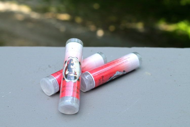 Red Riding Hood's Lip balm in Wild Strawberry with a slight pink tint