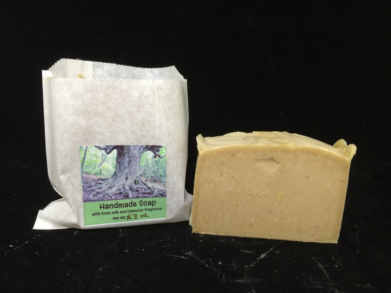 Handmade soap with goat milk and oak moss fragrance