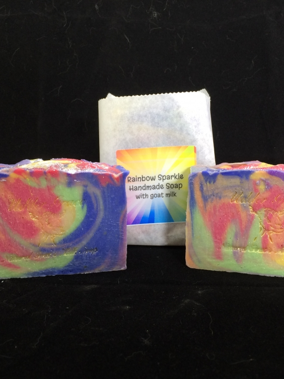 Rainbow Sparkle Goat milk soap