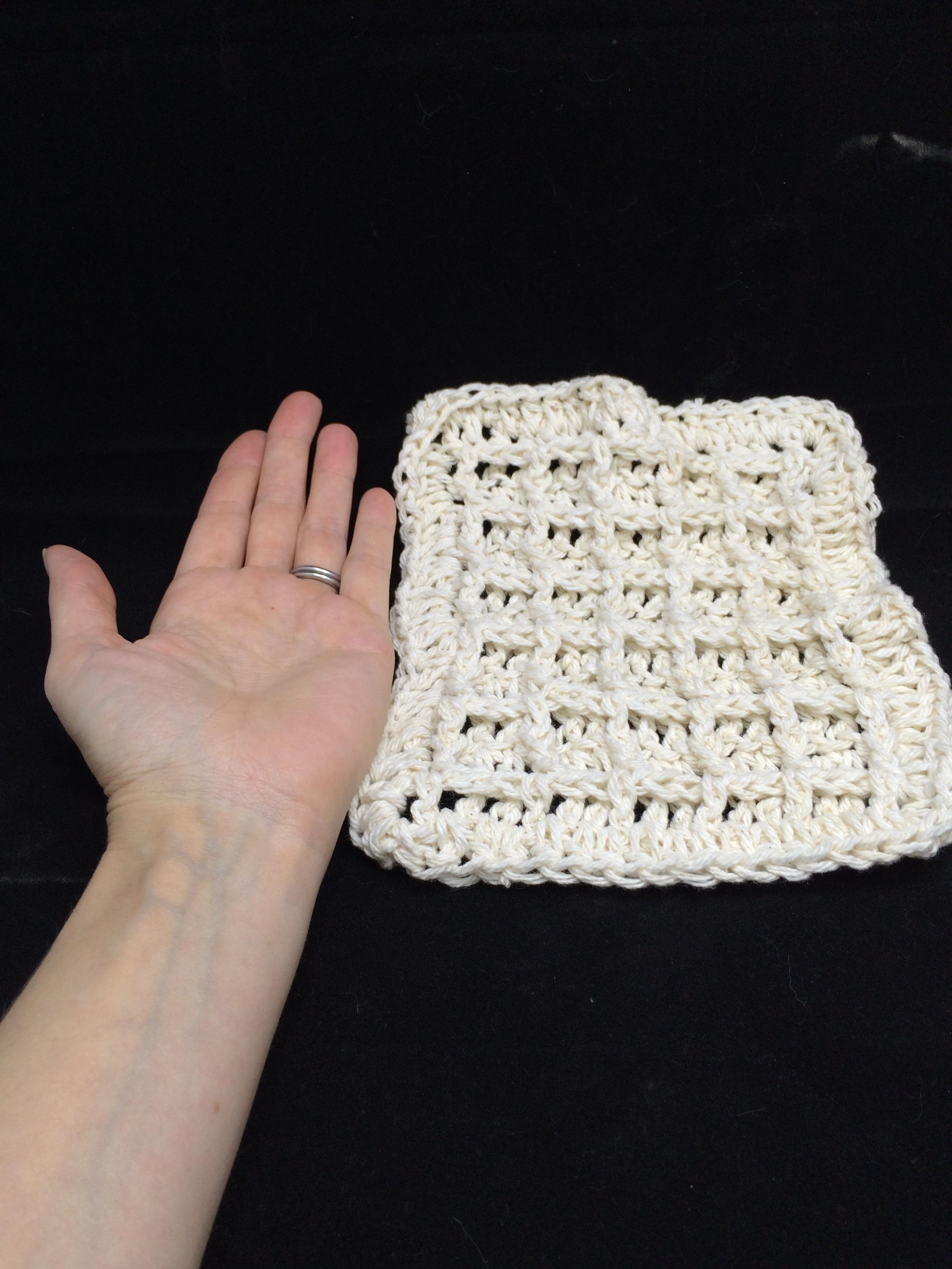 crocheted waffle washcloth