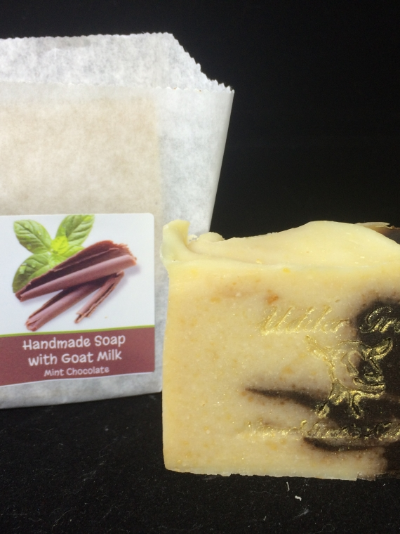 Handmade soap with goat milk, mint chocolate