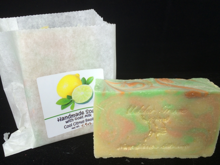 handmade soap with goat milk in cool citrus basil scent