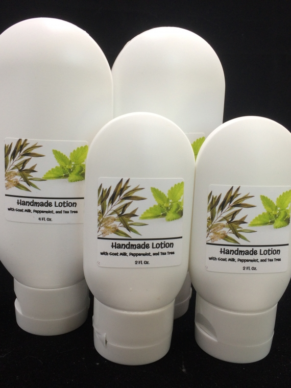 handmade lotion with goat milk, peppermint, and tea tree