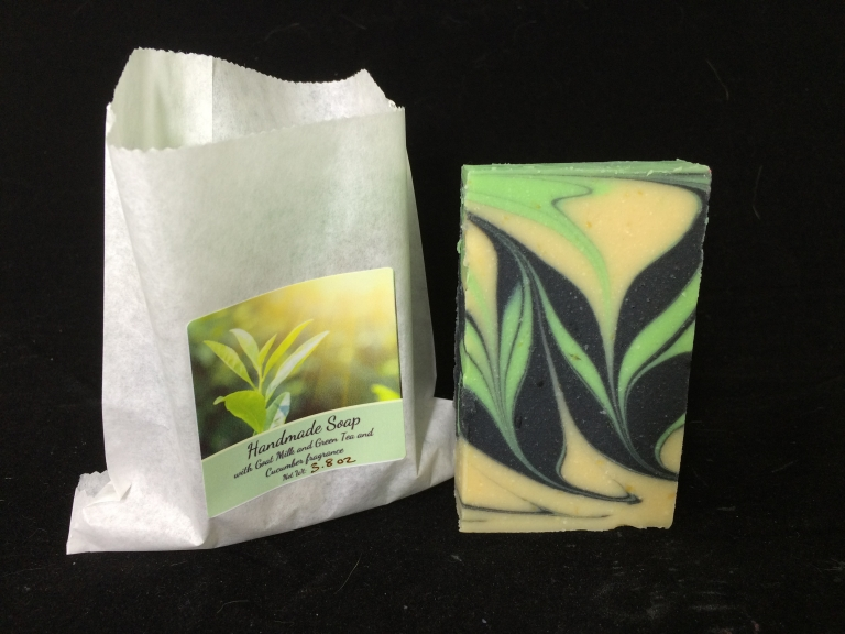 Handmade soap with Goat Milk, green tea and cucumber