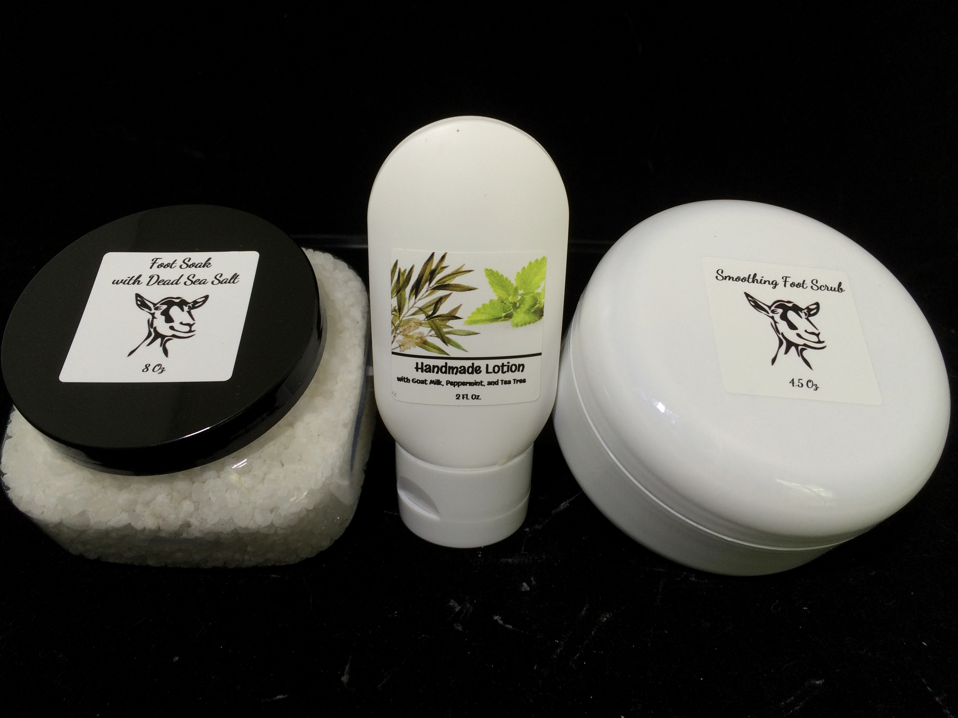 soft feet kit with salts, scrub, and lotion