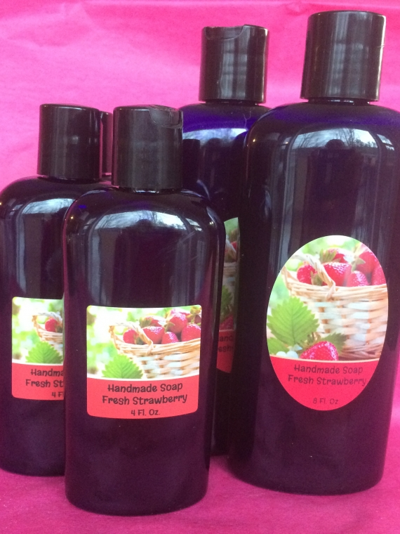 liquid soap with goat milk in strawberry scent