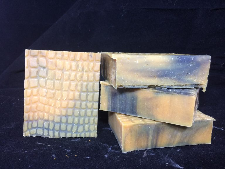 Snakeskin textured soap with goat milk and dissolved snakeskin